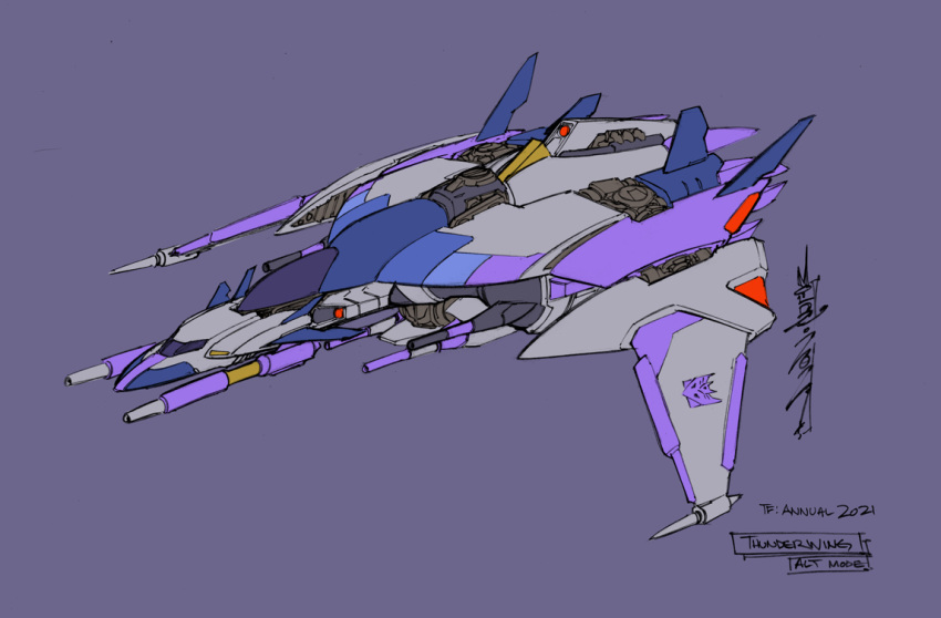 1boy 2021 aircraft airplane alex_milne cannon character_name decepticon fighter_jet jet military military_vehicle no_humans official_art purple_background science_fiction signature space_craft symbol the_transformers_(idw) thunderwing_(transformers) transformers wings