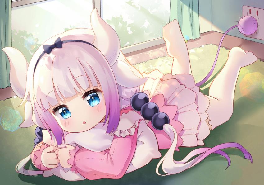1girl :o aqua_eyes blush child dragon_girl dress eyebrows_visible_through_hair horns hug kanna_kamui kobayashi-san_chi_no_maidragon loli long_hair open_mouth pillow_hug tail thigh-highs thighhighs twintails