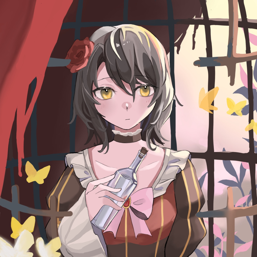 birdcage bottle bow brown_dress brown_hair bug butterfly cage choker collarbone corked_bottle dress flower frilled_choker frilled_dress frills hair_flower hair_ornament highres insect juliet_sleeves long_sleeves lr message_in_a_bottle puffy_sleeves short_hair solo spoilers striped umineko_no_naku_koro_ni vertical_stripes yasu_(umineko) yellow_butterfly yellow_eyes