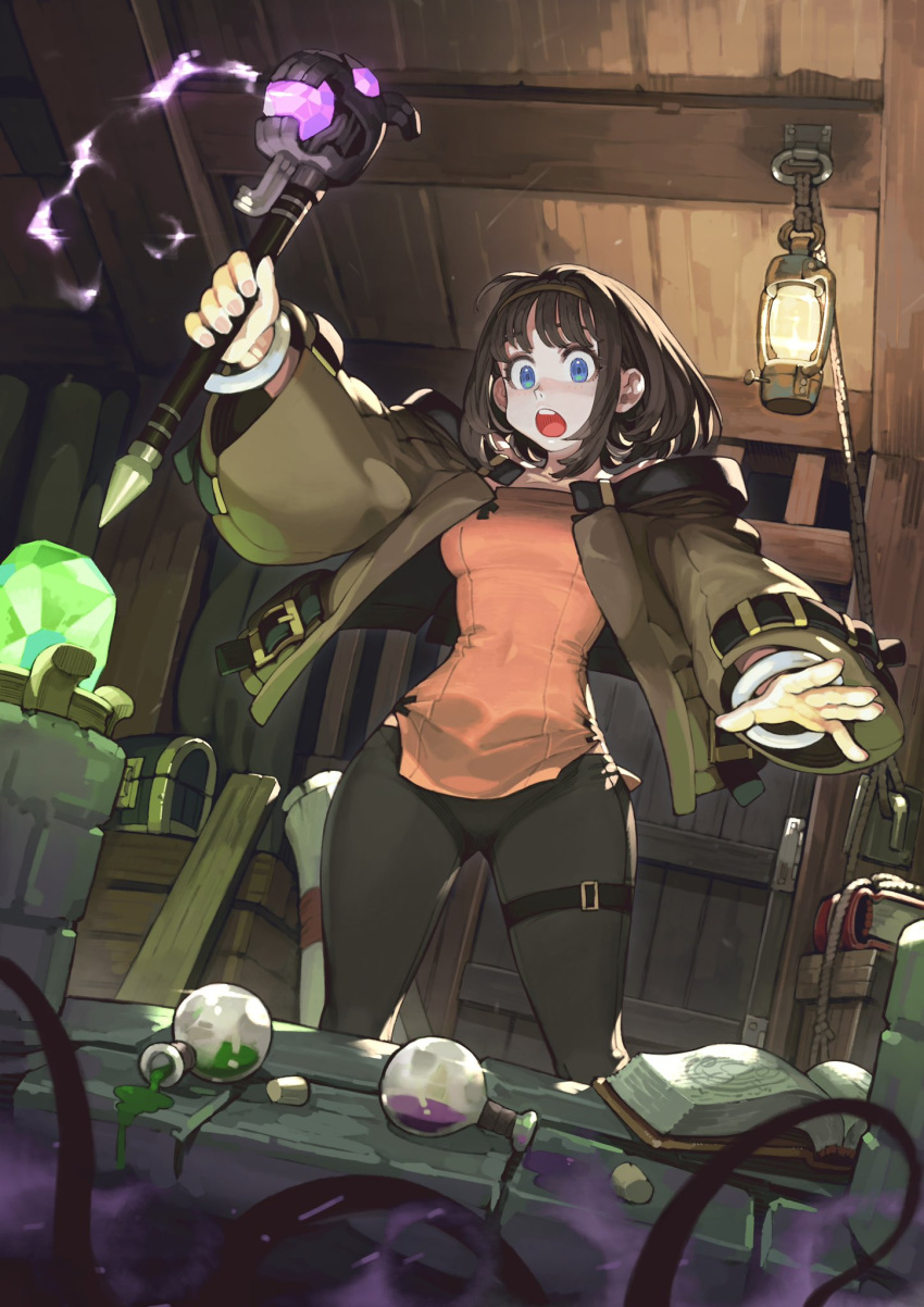 1girl blue_eyes book brown_hair commentary cork crystal door flask glowing headband highres holding holding_wand indoors jacket jun_(seojh1029) lamp liquid medium_hair open_mouth original pants scroll sidelocks smoke solo spill thigh_strap tight tight_pants treasure_chest wand