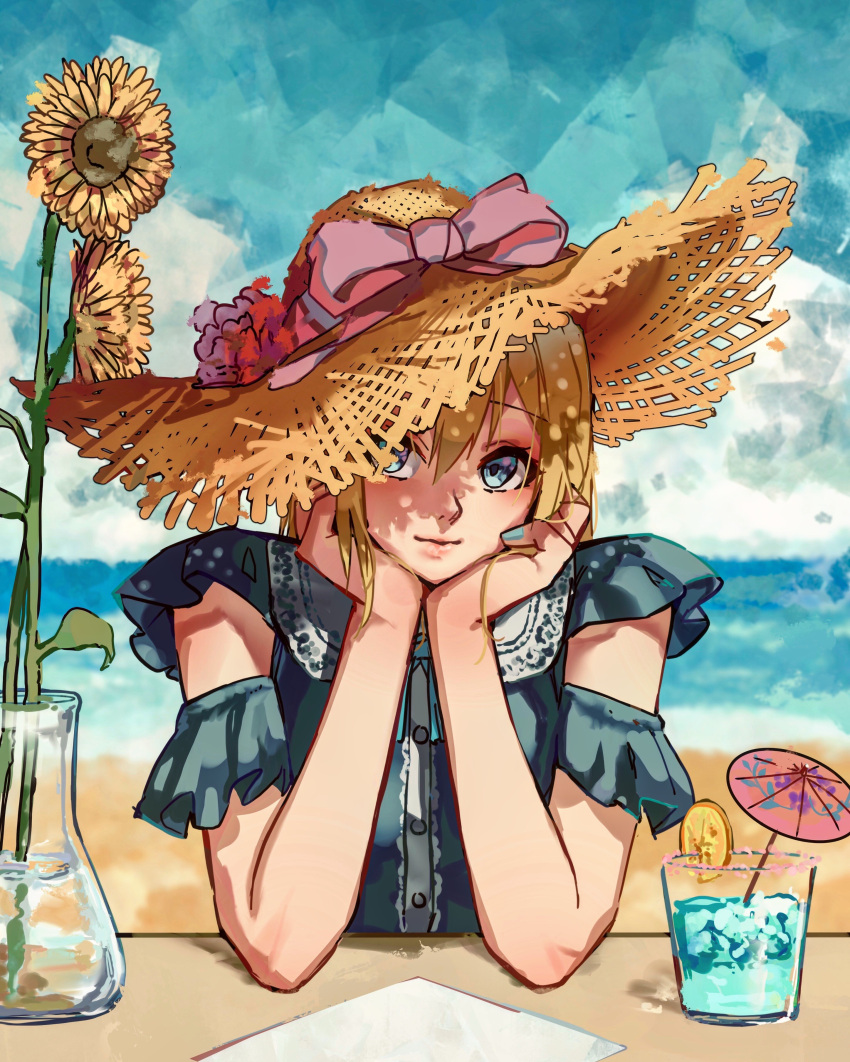 1girl absurdres bare_arms beach bennopi blue_dress blue_eyes blue_nails blue_sky bow buttons cocktail_umbrella commentary day dress elbows_on_table english_commentary flower food fruit glass hand_on_own_chin hat hat_bow highres looking_at_viewer menu nail_polish orange_(food) orange_slice original outdoors pink_bow procreate_(medium) shade sky solo straw_hat sun_hat sunflower upper_body vase