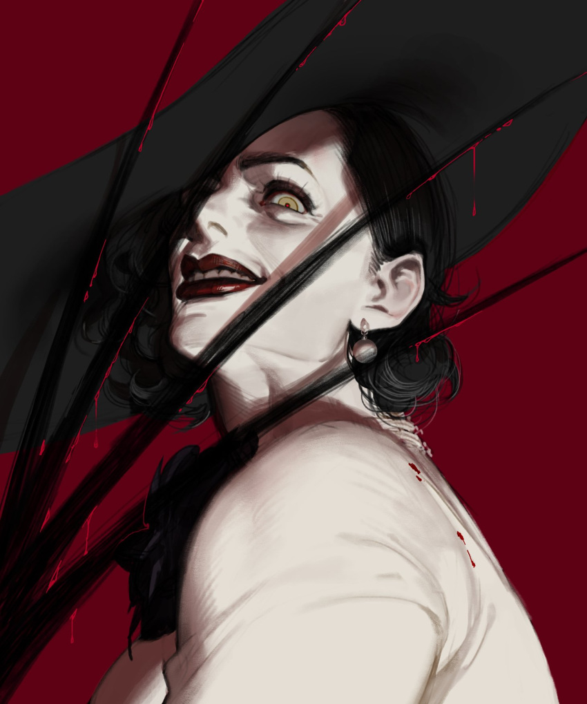1girl aaronyx alcina_dimitrescu black_flower black_hair black_rose blood claws corsage earrings flower grin hat highres jewelry lipstick makeup pale_skin red_background red_lips resident_evil resident_evil_village rose smile solo sun_hat upper_body
