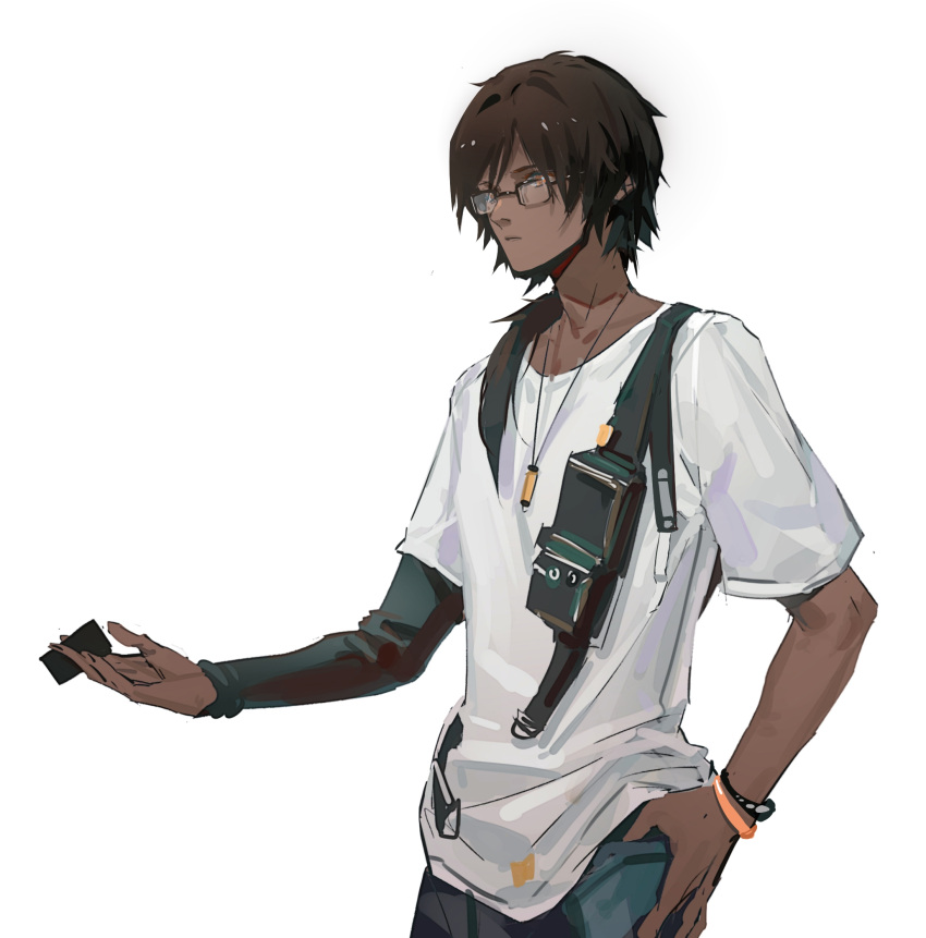 1boy arknights black_hair black_sleeves bracelet closed_mouth commentary_request dark-skinned_male dark_skin denim glasses hand_on_hip hand_up highres jeans jewelry long_hair long_sleeves male_focus necklace official_alternate_costume orange_eyes pants reaching shenji_laurant shirt short_sleeves simple_background single_sleeve solo t-shirt thorns_(arknights) thorns_(comodo)_(arknights) upper_body white_background white_shirt