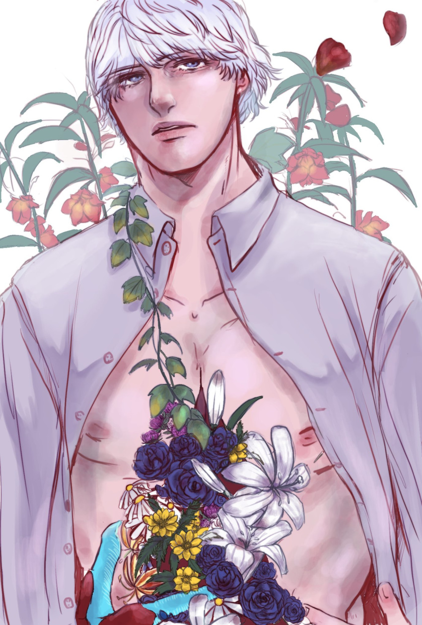 1boy balsam_(flower) blue_eyes blue_flower blue_rose buttercup_(flower) chamomile claws collarbone devil_bringer devil_may_cry_(series) devil_may_cry_4 flower gloriosa_(flower) grey_shirt hand_on_own_chest highres ivy lily_(flower) looking_up male_focus nero_(devil_may_cry) nipples open_clothes open_shirt parted_lips petals purple_flower red_flower rose shatotarou shirt short_hair simple_background solo thistle unbuttoned white_background white_flower white_hair yellow_flower