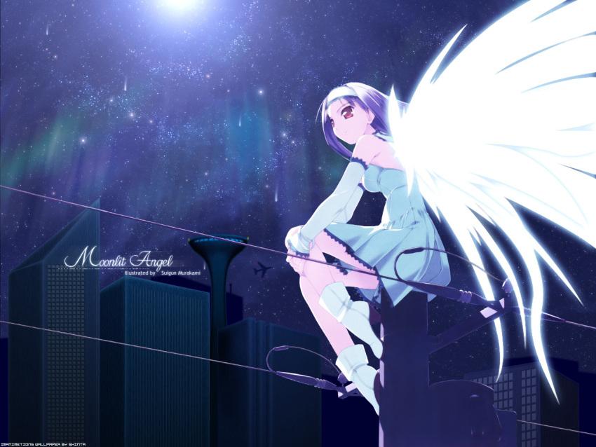 1girl airplane angel boots bracelet city feathers hairband murakami_suigun night red_eyes stars tagme wallpaper wings