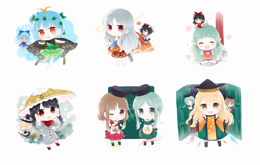 6+girls absurdres apron arms_up autumn autumn_leaves bamboo bangs bare_shoulders barefoot black_dress black_eyes black_footwear black_hair black_headwear black_legwear black_skirt blonde_hair blue_dress blue_sky blue_sleeves blush boots bow braid broom broom_riding brown_hair brown_headwear butterfly_wings buttons cape chibi cirno closed_eyes closed_mouth collar dark_skin door dress energy eternity_larva eyebrows_visible_through_hair eyes_visible_through_hair flower flying from_behind green_dress green_eyes green_footwear green_hair green_skirt green_sleeves grey_dress grey_sleeves ground hair_between_eyes hair_tubes hakurei_reimu hand_up hands_up hat hat_bow heart heart_print hidden_star_in_four_seasons highres holding horns ice ice_wings kirisame_marisa knife komano_aunn leaf leaf_on_head long_sleeves looking_at_another looking_at_viewer matara_okina medium_hair multicolored multicolored_clothes multicolored_dress multiple_girls nishida_satono no_hat no_headwear one_eye_closed open_mouth orange_cape orange_dress orange_eyes orange_sleeves pink_bow pink_dress pink_flower pink_footwear pink_neckwear pink_scarf pink_sleeves plant pom_pom_(clothes) puffy_short_sleeves puffy_sleeves red_bow red_collar red_dress red_eyes red_footwear red_headwear red_scarf red_shirt red_shorts sakata_nemuno scarf seiza shameimaru_aya shirt shoes short_hair short_sleeves shorts silver_hair simple_background single_horn sitting sitting_on_person skirt sky smile snow snowing socks spring_(season) standing summer sun sun_symbol sunflower tanned_cirno teireida_mai touhou twin_braids umi_(nana_spring) white_apron white_background white_bow white_collar white_legwear white_shirt white_sleeves wings winter witch_hat yatadera_narumi yellow_bow yellow_eyes yellow_headwear yellow_neckwear