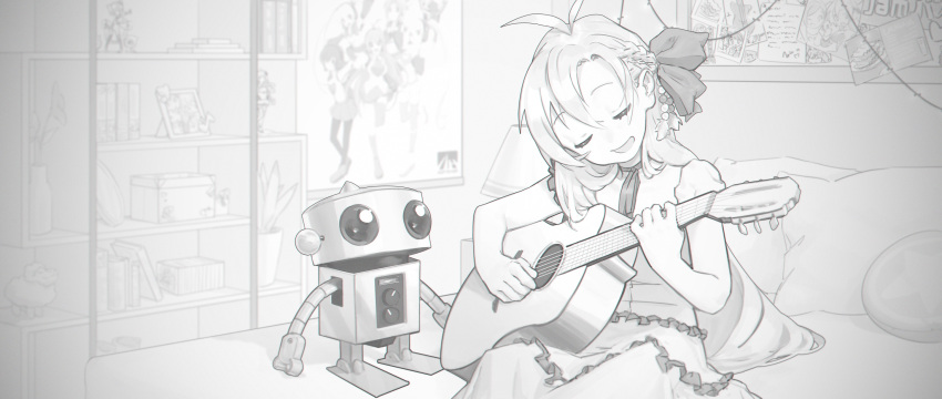 1girl 1other acoustic_guitar antenna_hair beads bed blurry blurry_background book box closed_eyes commentary english_commentary figure frilled_skirt frills greyscale guitar hair_beads hair_ornament hair_ribbon highres instrument irarugii long_hair monochrome music open_mouth photo_(object) pillow plant playing_instrument poster_(object) potted_plant ribbon robot shelf sitting skirt smile synthesizer_v toy tsurumaki_maki very_long_hair voiceroid