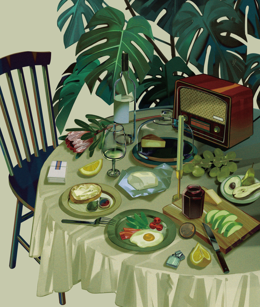 alcohol avocado bacon bottle butter cake cake_slice cake_stand candle candlestand chair cheese cigarette_pack commentary cup cutting_board drinking_glass english_commentary fig flower food food_focus fork fruit grapes green_theme highres jam jar knife leaf lemon lemon_slice lettuce lighter no_humans original pear plate radio red_flower saiga_tokihito scenery still_life sunny_side_up_egg table tablecloth toast tomato_slice wine wine_bottle wine_glass