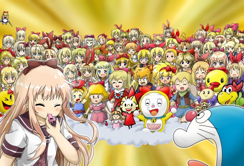 2boys 6+girls :3 :d ;d ^_^ absolute_duo absolutely_everyone aikatsu! aikatsu!_(series) aino_minako akazukin_chacha alice_(alice_sos) alice_blanche alice_sos amae_koromo annaka_haruna antenna_hair anyamal_tantei_kirumin_zoo arisugawa_yuuhi arms_at_sides ashita_no_nadja ayase_kaori bangs bell bishoujo_senshi_sailor_moon blonde_hair blue_eyes blush blush_stickers bow braid brown_bow brown_sailor_collar castlevania castlevania:_rondo_of_blood character_request chargeman_ken! charlotte_tiger chouno_otome closed_eyes connie_(doraemon) copyright_request crossover disgaea dokidoki!_precure doraemon doraemon_(character) dorami dr._slump dragon_ball dragon_ball_(classic) dress dust_cloud elis_(touhou) elizabeth_(akazukin_chacha) ellen_(touhou) emilia_(houkago_saikoro_club) engage_links eromanga_sensei everyone eyebrows_visible_through_hair facing_viewer fairchild flonne gamble_fish gloves goliath_doll green_gloves gundam hair_bow hair_ribbon hairband hand_on_hip hand_up hands_up hatori_kanon hatsukoi_rail_trip hayate_no_gotoku! highres hime-chan_no_ribbon himesaka_noa hoshimiya_ichigo houkago_saikoro_club hourai_doll ikoku_meiro_no_croisee imarine imarine_project itoshii_kanojo_no_mamorikata izumi_caron jeanie_macdowell jewelry jingle_bell juuoumujin_no_fafnir kamikita_keiko kaze_no_naka_no_shoujo_kinpatsu_no_jeanie kikka_kitamoto kimidori_akane kirby_(series) kirby_mass_attack kiriga_mako kirisaki_chitoge koi_koi_7 kokura_hikari kono_bijutsubu_niwa_mondai_ga_aru! koopa_bros. lilith_bristol lisa_highwalker long_hair long_sleeves look-alike looking_at_another looking_at_viewer luna_platz_(mega_man) lunch_(dragon_ball) mahjong_soul makai_senki_disgaea mangirl! maria_renard marihei64ds marin_(umi_monogatari) marina_lir_violia super_mario_bros. mega_man_(series) mega_man_star_force mikami_chiori miyazawa_mikage mobile_suit_gundam montmorency_margarita_la_fere_de_montmorency mother_(game) mother_2 ms._pac-man multiple_boys multiple_crossover multiple_girls multiple_persona muteki_