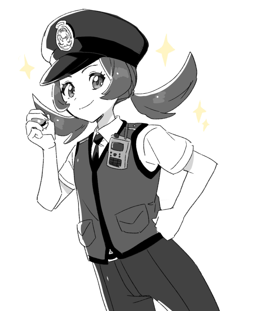 1girl alternate_costume belt_buckle buckle closed_mouth collared_shirt commentary_request eyelashes greyscale hand_on_hip hand_up hat highres holding holding_poke_ball korean_commentary long_hair looking_at_viewer lyra_(pokemon) monochrome necktie pants poke_ball poke_ball_(basic) pokemon pokemon_(game) pokemon_hgss police police_uniform policewoman rnehrdyd1212 shirt short_sleeves smile solo sparkle spot_color tied_hair twintails uniform vest white_background