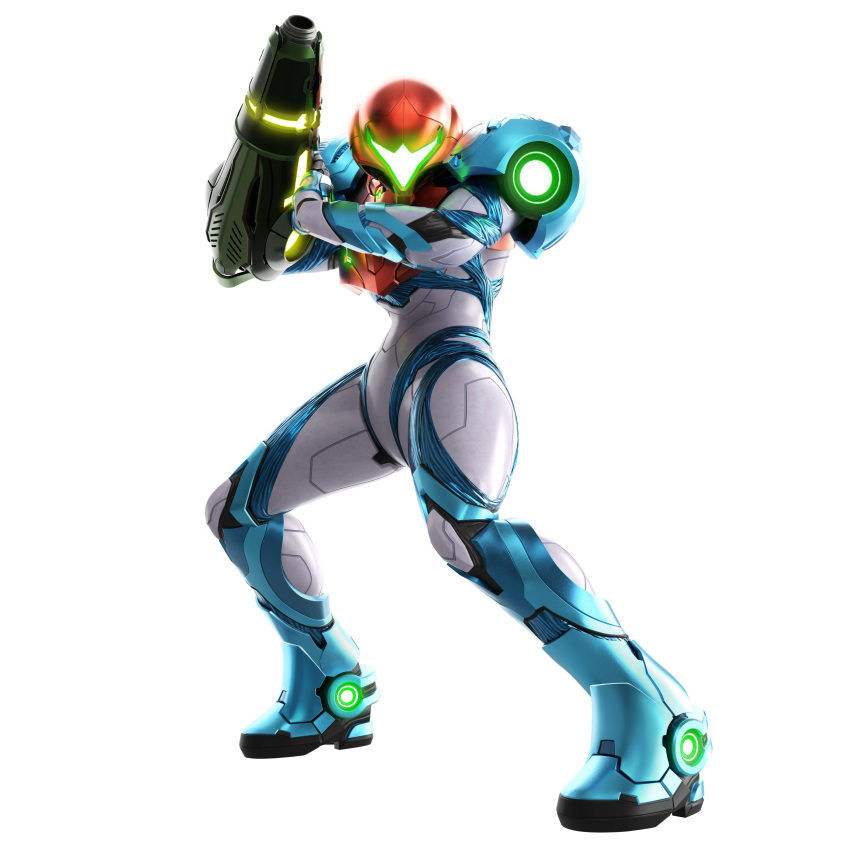 1girl 3d absurdres arm_cannon armor body_armor commentary full_body glowing helmet highres looking_at_viewer metroid metroid_dread neon_trim official_art power_armor samus_aran science_fiction shoulder_armor simple_background solo standing visor weapon white_background