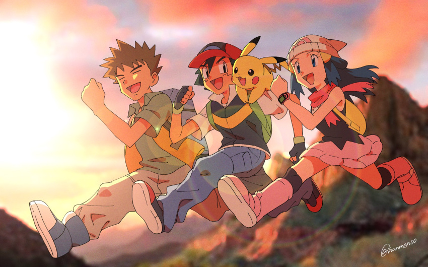 1girl 2boys :d ash_ketchum backpack bag bangs baseball_cap beanie black_gloves black_hair blue_eyes blue_hair boots brock_(pokemon) brown_hair clenched_hand clenched_hands closed_eyes collared_shirt commentary_request dawn_(pokemon) eyelashes fingerless_gloves floating_hair gen_1_pokemon gloves green_bag green_shirt hair_ornament hairclip hand_up hat highres hungry_seishin jumping legs_apart lens_flare long_hair multiple_boys open_mouth outdoors over-kneehighs pants pikachu pink_footwear pokemon pokemon_(anime) pokemon_(creature) pokemon_dppt_(anime) red_headwear scarf shirt shoes short_hair short_sleeves sleeveless smile spiky_hair thigh-highs tongue  d