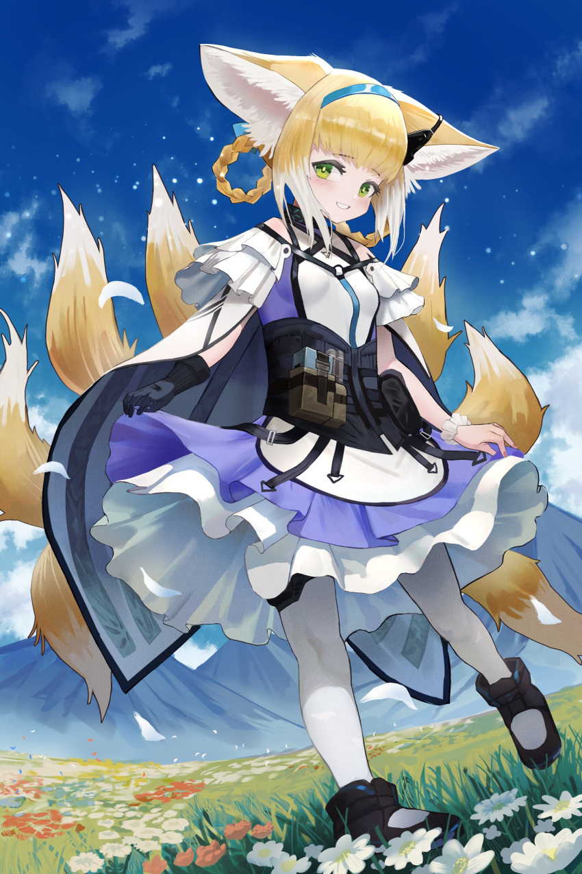 1girl absurdres arknights bannnouyakunta belt_pouch black_footwear black_gloves blonde_hair blue_dress blue_hairband blue_sky boots breasts cape capelet clouds commentary_request dress earpiece falling_petals flower full_body gloves green_eyes grin hair_rings hairband highres infection_monitor_(arknights) kyuubi light_particles looking_at_viewer meadow mountain multiple_tails orange_flower pantyhose parted_lips petals pouch red_flower single_glove skirt_hold sky small_breasts smile solo standing standing_on_one_leg suzuran_(arknights) tail teeth thigh_strap white_cape white_capelet white_dress white_flower white_hair white_legwear wrist_cuffs