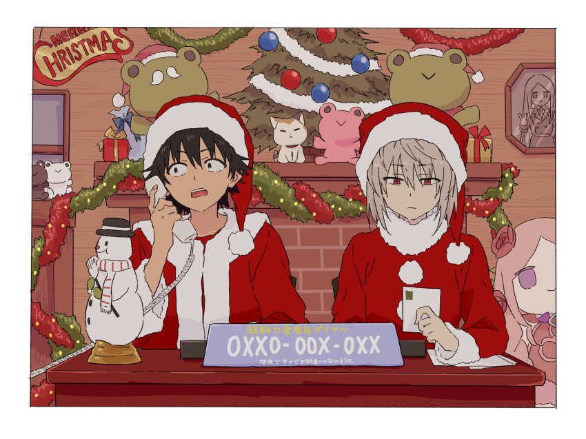 2boys accelerator_(toaru_majutsu_no_index) bangs bauble black_hair box character_request christmas christmas_lights christmas_ornaments christmas_tree closed_mouth coat corded_phone cosplay dress english_commentary english_text facial_hair facing_viewer fake_facial_hair fake_mustache fireplace flower fur_trim gekota gift gift_box grey_hair hair_flower hair_ornament hat highres holding holding_phone indoors kamijou_touma looking_down merry_christmas mixed-language_commentary multiple_boys mustache open_mouth phone picture_frame pink_dress pink_hair postcard red_eyes red_headwear santa_costume santa_hat scarf short_hair sign sitting snowman stuffed_animal stuffed_frog stuffed_toy table talking talking_on_phone teruya_(6w6y) toaru_majutsu_no_index v violet_eyes window
