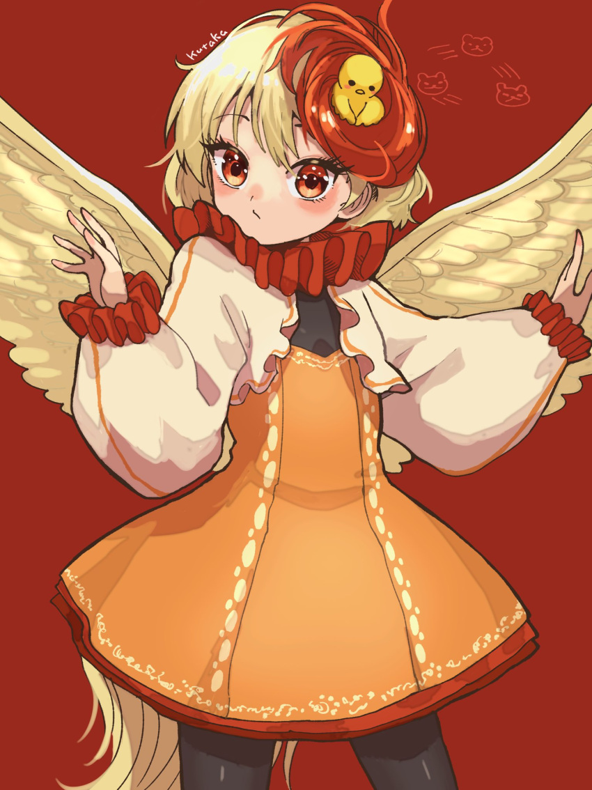 1girl animal animal_on_head bird bird_on_head bird_tail bird_wings brown_dress character_name chick comic_lo contrapposto dress feathered_wings highres howhow_notei multicolored_hair niwatari_kutaka on_head one-hour_drawing_challenge orange_dress otter_spirit_(touhou) pantyhose solo tail tail_feathers touhou two-tone_hair wings yellow_wings