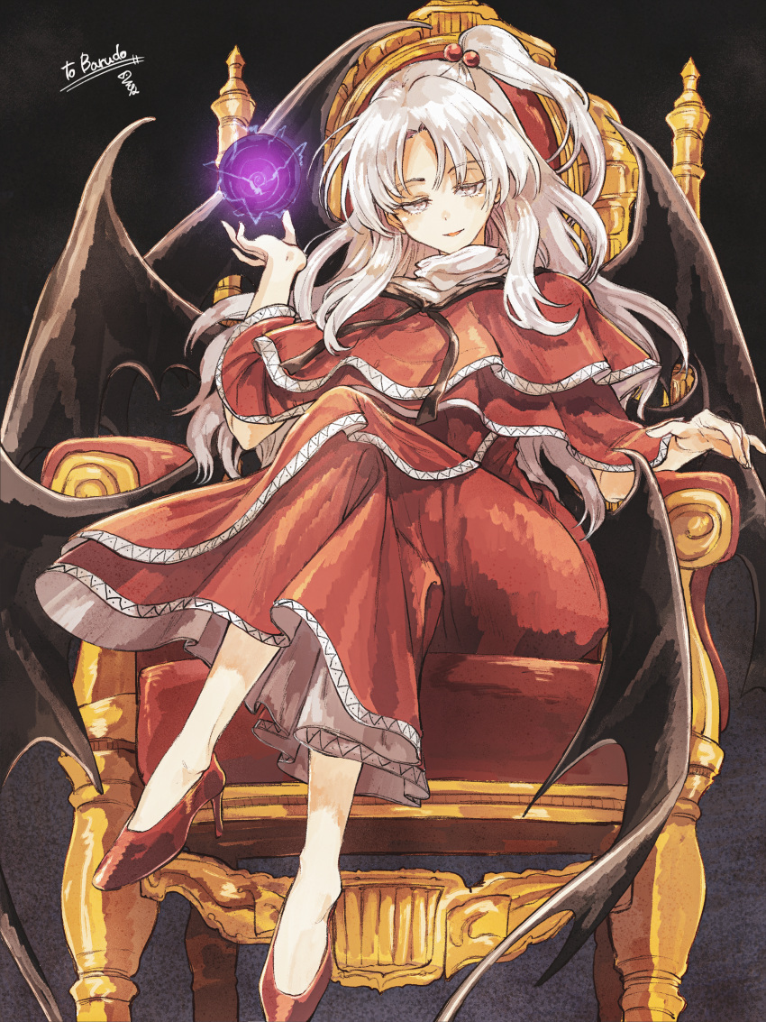 absurdres anklet bangs bow commission commissioner_upload crossed_legs dark_background demon_wings dress energy_ball full_body hair_bobbles hair_ornament highres hisona_(suaritesumi) huge_filesize jewelry long_hair long_legs looking_at_viewer multiple_wings one_side_up open_mouth parted_bangs red_dress red_footwear shinki_(touhou) shirt side_ponytail signature sitting throne touhou touhou_(pc-98) white_eyes white_hair white_shirt wings