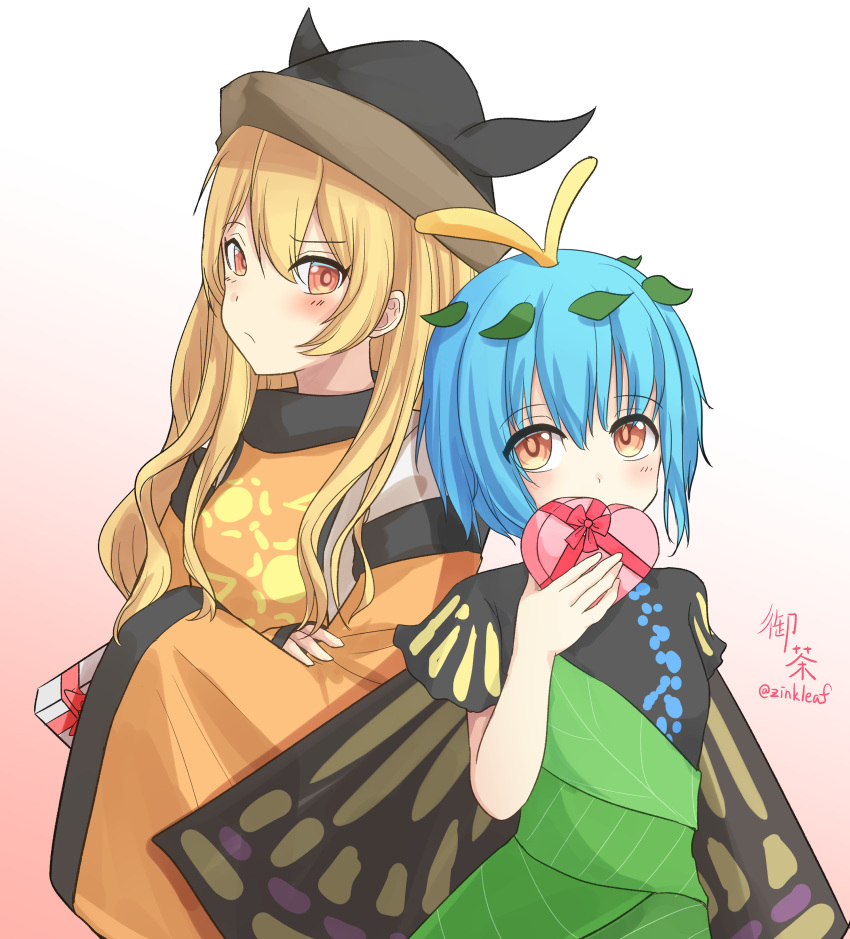 2girls absurdres artist_name bangs black_dress black_headwear black_sleeves blonde_hair blue_hair blush bow box box_of_chocolates breasts brown_headwear butterfly_wings cape closed_mouth detached_sleeves dress eternity_larva eyebrows_visible_through_hair eyes_visible_through_hair gradient gradient_background green_dress hair_between_eyes hand_up hands_up hat highres leaf leaf_on_head long_hair long_sleeves looking_at_another looking_at_viewer matara_okina medium_breasts multicolored multicolored_background multicolored_clothes multicolored_dress multiple_girls orange_cape orange_eyes orange_sleeves pink_background pink_bow shirt short_hair short_sleeves signature simple_background sun_symbol touhou white_background white_shirt wings yu_cha
