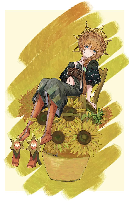 1girl absurdres blue_eyes braid brown_hair chair fate/grand_order fate_(series) flower flower_pot highres i_b_san sitting sunflower van_gogh_(fate) yellow_background
