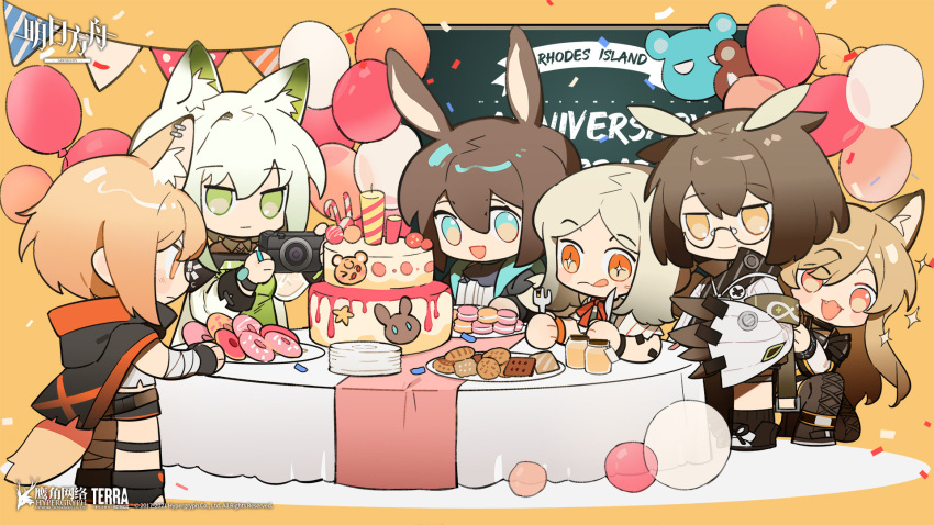+_+ 6+girls amiya_(arknights) animal_ear_fluff animal_ears arknights ascot balloon black_cape black_footwear black_jacket black_legwear black_shorts blonde_hair blue_eyes blue_neckwear blush boots bracelet brown_footwear brown_hair cake camera cape ceobe_(arknights) chalkboard chibi chinese_commentary coat cookie copyright_name dog_ears doughnut dress ear_piercing extra_ears fangs feather_hair food fork fox_ears fox_girl fox_tail green_dress green_eyes green_hair highres holding holding_camera holding_fork holding_knife hood hooded_cape ifrit_(arknights) infection_monitor_(arknights) jacket jar jewelry kal'tsit_(arknights) knife licking_lips long_hair looking_at_viewer macaron multiple_girls no_horn official_art one_knee open_clothes open_jacket open_mouth orange_eyes oripathy_lesion_(arknights) owl_ears party piercing rabbit_ears red_eyes rhine_lab_logo ring shirt shoes short_hair shorts silence_(arknights) smile socks sparkle table tail tongue tongue_out vermeil_(arknights) watermark white_coat white_shirt white_sleeves yellow_background yellow_eyes