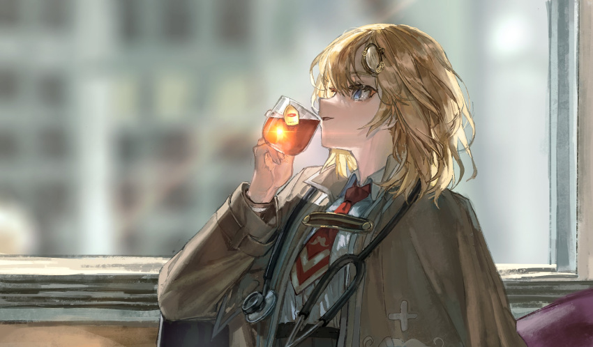 1girl blonde_hair blue_eyes blurry blurry_background capelet collared_shirt cup drinking hair_ornament highres holding holding_cup hololive hololive_english kermit_the_frog looking_up meme monocle_hair_ornament necktie quasarcake red_neckwear shirt shirt_tucked_in short_hair short_necktie solo stethoscope watson_amelia white_shirt