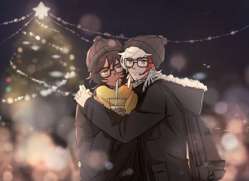 2boys :/ arknights backpack bag beanie black_hair black_headwear black_jacket blurry bokeh bubble_tea christmas christmas_lights christmas_tree closed_mouth commentary_request dark-skinned_male dark_skin depth_of_field drinking_straw_in_mouth elysium_(arknights) feather_hair glasses grey_eyes hat highres hood hooded_jacket jacket light_particles long_sleeves looking_at_another looking_at_viewer male_focus multicolored_hair multiple_boys night orange_eyes outdoors redhead scarf short_hair smile streaked_hair thorns_(arknights) upper_body white_hair yellow_scarf yuzuriha_(ryami)