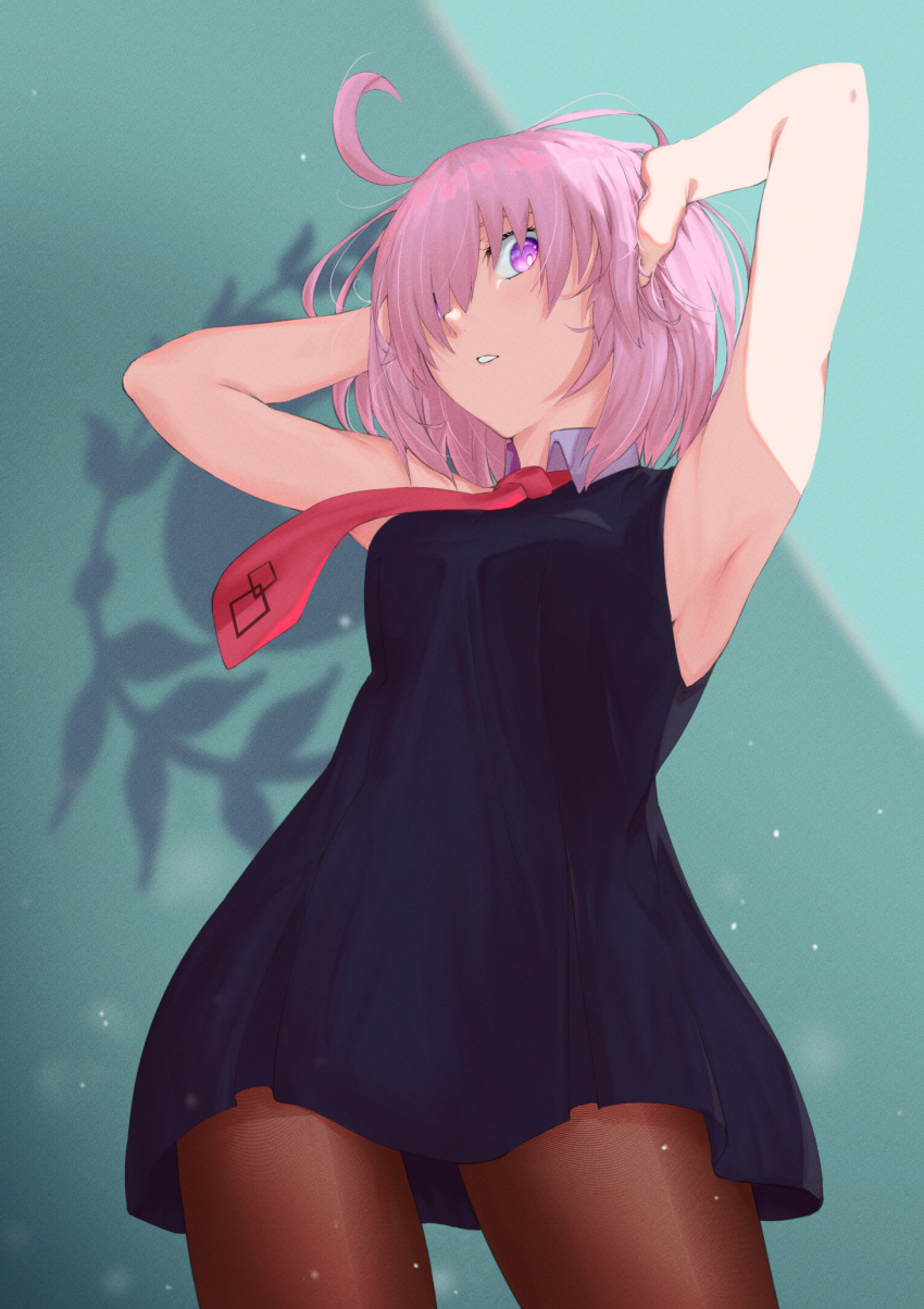 1girl ahoge anianiani0607 armpit_crease armpits arms_up dress fate/grand_order fate_(series) hands_on_own_head highres mash_kyrielight necktie one_eye_covered pink_hair red_tie short_hair simple_background sleeveless sleeveless_dress type-moon violet_eyes