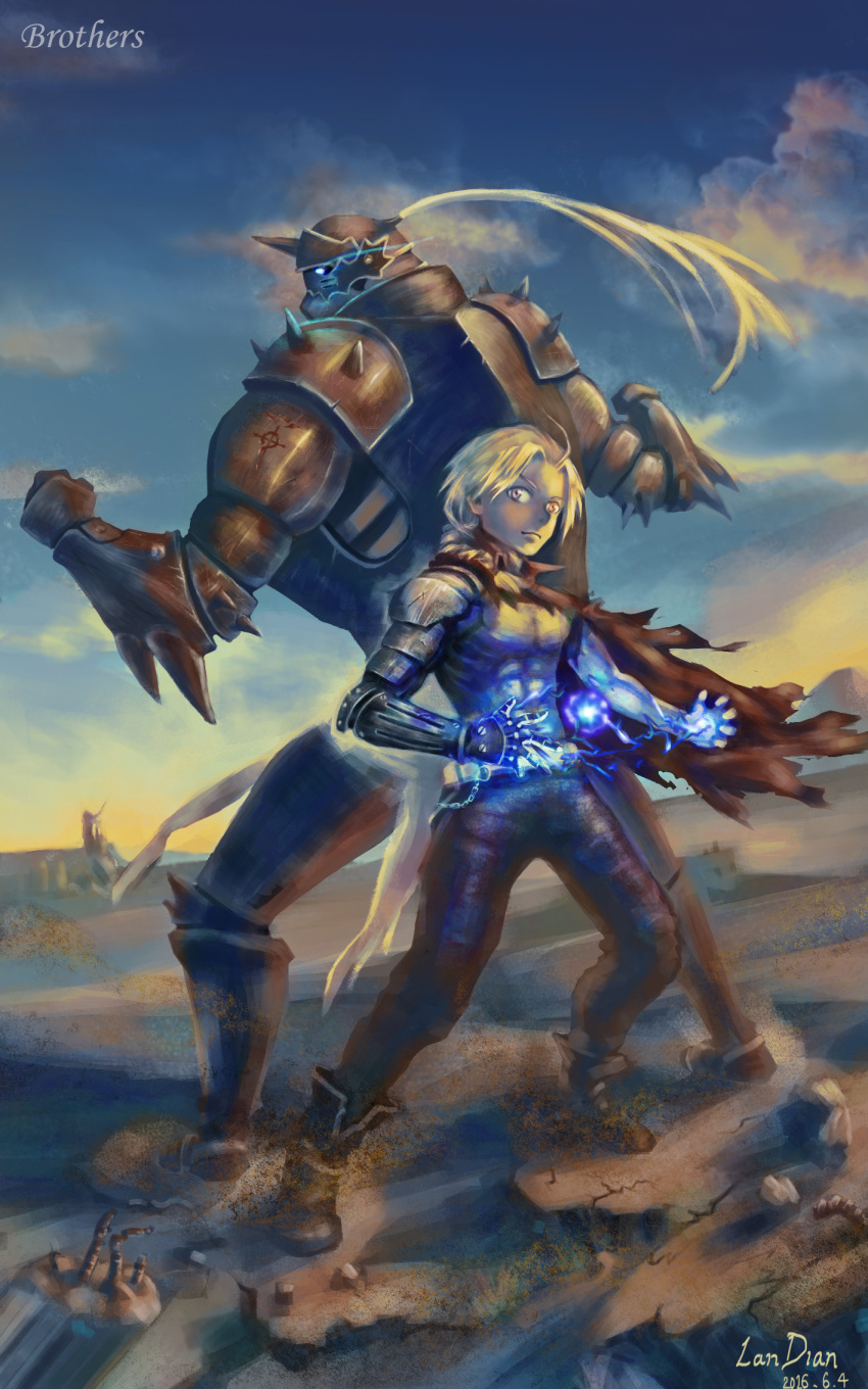 2boys alphonse_elric armor artist_name back-to-back bare_pectorals belt belt_chain blonde_hair blue_sky boots brothers cape casting_spell clouds commentary_request dawn desert edward_elric electricity fighting_stance flamel_symbol full_armor full_body fullmetal_alchemist glowing glowing_eyes highres lan_dian magic mechanical_arms multiple_boys pectorals rebar siblings single_mechanical_arm sky spiked_armor standing torn_cape torn_clothes