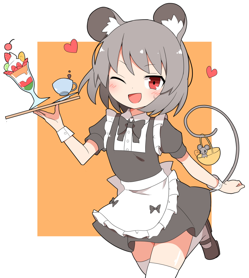 1girl ;d absurdres alternate_costume animal_ears apron bangs basket black_footwear border cup eyebrows_visible_through_hair food grey_hair heart highres holding holding_tray ice_cream leg_up looking_at_viewer mouse mouse_ears mouse_tail nazrin nihohohi one_eye_closed open_mouth orange_background red_eyes short_hair simple_background smile sweatdrop tail thigh-highs touhou tray v-shaped_eyebrows waist_apron waitress white_apron white_border white_legwear wrist_cuffs