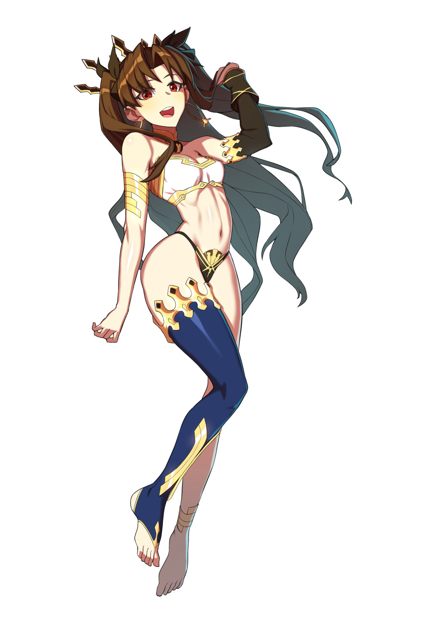 1girl absurdres bangs bikini black_hair black_legwear bracelet breasts detached_sleeves earrings fate/grand_order fate_(series) full_body gold_trim hair_ribbon highleg highleg_bikini highres hoop_earrings hyperbudd ishtar_(fate) ishtar_(fate)_(all) jewelry long_hair looking_at_viewer medium_breasts mismatched_bikini navel neck_ring open_mouth parted_bangs red_eyes ribbon single_detached_sleeve single_thighhigh smile solo sweat swimsuit thigh-highs tiara two_side_up
