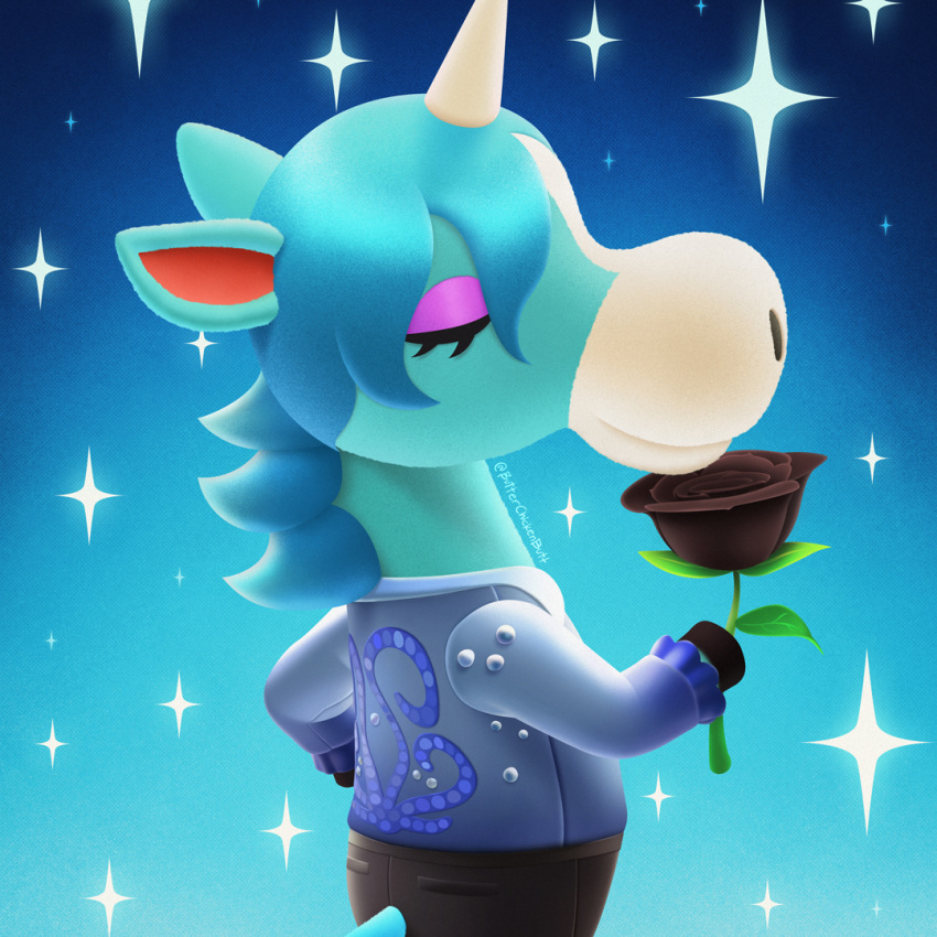 1boy animal_crossing animal_ears black_flower black_pants black_rose blue_background blue_hair blue_shirt butterchickenbutt closed_eyes closed_mouth commentary eyeshadow flower frilled_sleeves frills furry hand_on_hip holding holding_flower horns horse_boy horse_ears horse_tail instagram_username julian_(animal_crossing) long_hair long_sleeves makeup making-of_available male_focus mane pants profile rose shirt single_horn smelling_flower solo sparkle tail unicorn upper_body