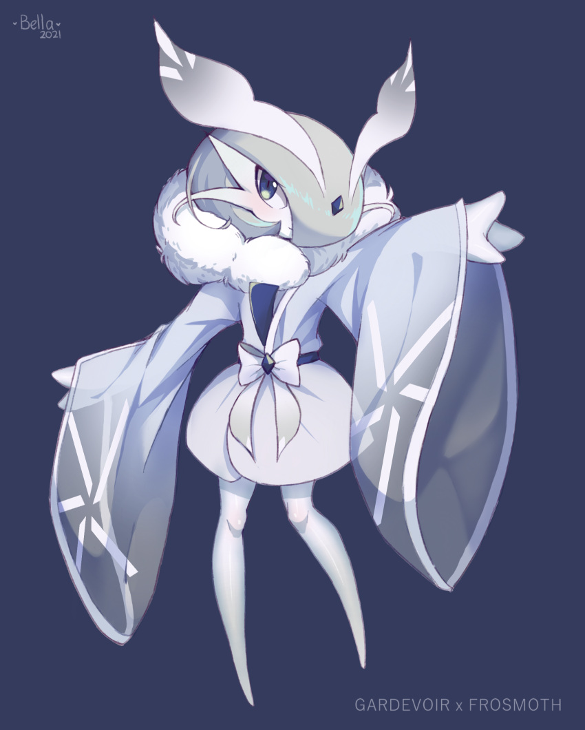1girl absurdres antennae arm_up arthropod_girl artist_name bangs barefoot bellavoirr blue_background blue_bow blue_eyes blue_kimono blue_theme blush bob_cut bow character_name clothed_pokemon colored_skin commentary crystal dated english_commentary english_text flat_chest frosmoth full_body fur_collar fusion gardevoir gen_3_pokemon gen_8_pokemon grey_hair grey_skin hair_ornament hair_over_one_eye highres japanese_clothes kimono long_sleeves looking_at_viewer moth_girl outstretched_arms pokemon pokemon_(creature) shiny shiny_hair shiny_skin short_hair signature simple_background slit_pupils solo standing wide_sleeves