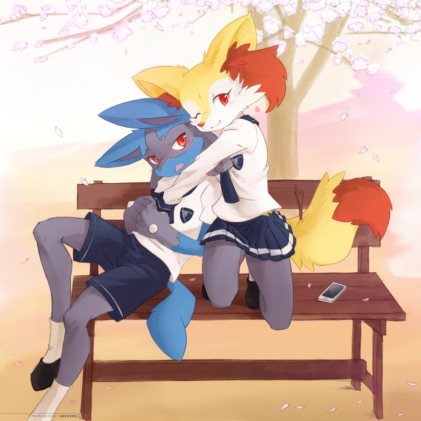 1boy 1girl :3 ancesra animal_ear_fluff animal_ears animal_nose artist_name bench black_footwear black_fur blue_fur blue_neckwear blue_shorts blue_skirt blush body_fur braixen breast_pocket cellphone cherry_blossoms closed_mouth clothed_pokemon commentary day embarrassed english_commentary fang flat_chest fox_ears fox_girl fox_tail full_body furry gen_4_pokemon gen_6_pokemon happy heart hetero highres holding_hands hug hug_from_behind interspecies light_blush looking_at_another looking_at_viewer looking_to_the_side lucario miniskirt mixed-language_commentary neckerchief nose_blush on_bench one_eye_closed open_mouth outdoors patreon_username petals phone pleated_skirt pocket pokemon pokemon_(creature) red_eyes school_uniform serafuku shirt shoes short_sleeves shorts sitting skirt smartphone smile snout socks squatting stick tail tree watermark web_address white_fur white_legwear white_shirt wolf_boy wolf_ears wolf_tail yellow_fur