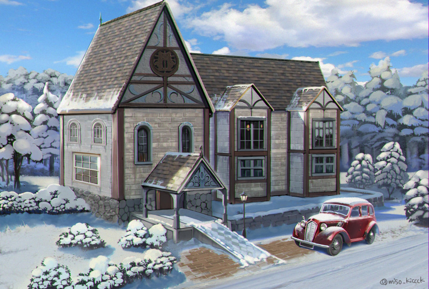 absurdres blue_sky bush car clouds day forest ground_vehicle highres house lamppost miso_katsu motor_vehicle nature no_humans original outdoors scenery sky snow twitter_username winter
