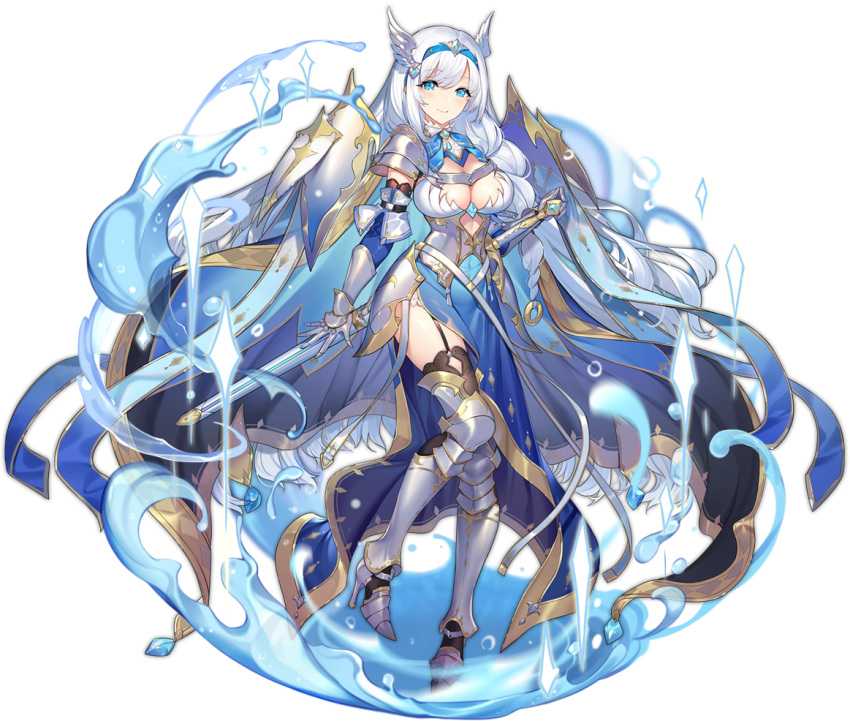 1girl ark_order armored_boots bangs black_legwear blue_dress blue_eyes blue_hairband boots braid breasts dress fake_head_wings garter_straps hairband hatoyama_itsuru head_wings high_heel_boots high_heels lancelot_(ark_order) large_breasts long_hair looking_at_viewer navel official_art sheath sheathed shoulder_guard sidelocks smile solo sword tachi-e thigh-highs transparent_background very_long_hair water weapon white_hair