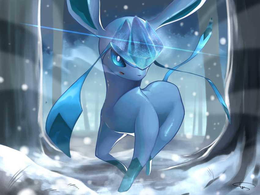 animal_focus artist_name blue_sclera blue_sky blue_theme blurry blurry_background breath colored_sclera commentary_request crystal gen_4_pokemon glaceon highres ice looking_at_viewer no_humans open_mouth outdoors pokemon pokemon_(creature) rio_(user_nvgr5434) running sideways_mouth signature sky snow snowing solo tree white_eyes
