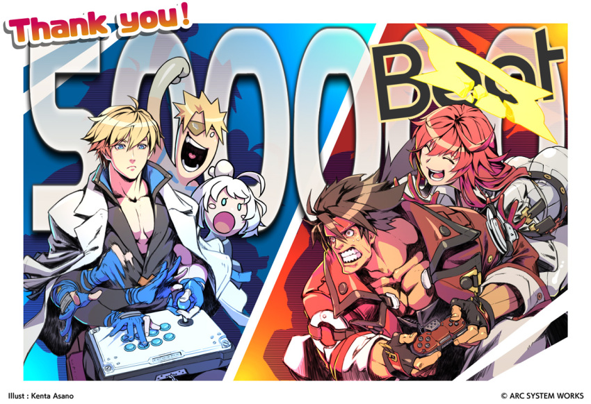 2girls 3boys ahoge arcade_stick aria_(guilty_gear) asano_kenta blonde_hair blush_stickers brown_hair clenched_teeth commentary controller copyright elphelt_valentine eyepatch father_and_son fingerless_gloves game_controller gamepad gloves guilty_gear guilty_gear_strive headband husband_and_wife jack-o'_valentine joystick ky_kiske milestone_celebration multiple_boys multiple_girls official_art open_mouth redhead sin_kiske sol_badguy teeth thank_you white_hair