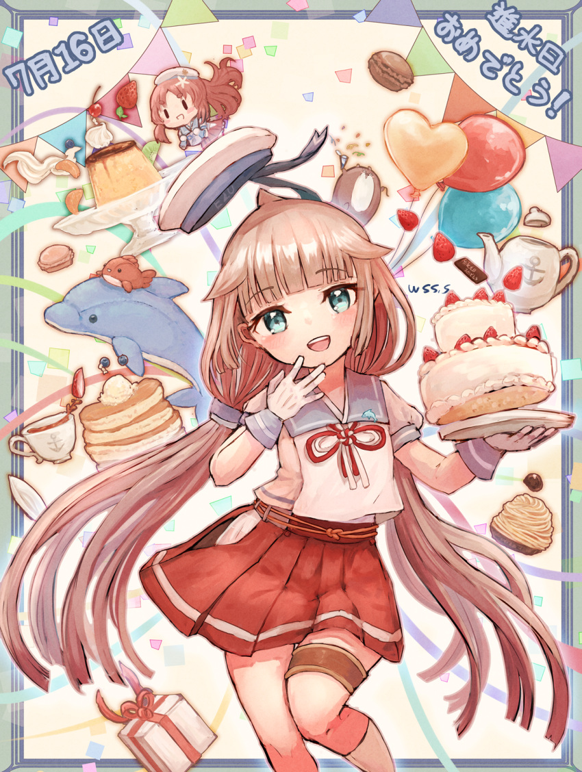 2girls anchor_symbol balloon blue_sailor_collar bokukawauso cake commentary_request cup dated dolphin food gift gloves green_eyes grey_hair happy_birthday hat highres hip_vent kantai_collection long_hair low_twintails macaron mikura_(kancolle) minigirl multiple_girls pancake pleated_skirt pudding puffy_short_sleeves puffy_sleeves red_skirt sailor_collar sailor_hat sailor_shirt shirt short_sleeves skirt socks solo_focus standing standing_on_one_leg strawberry_shortcake stuffed_animal stuffed_dolphin stuffed_toy teacup teapot twintails undershirt white_gloves white_legwear white_shirt wss_(nicoseiga19993411) yashiro_(kancolle)