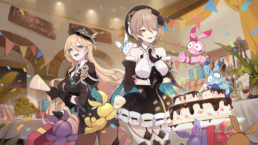 2girls :d alcohol artist_request bare_shoulders bianka_durandal_ataegina bianka_durandal_ataegina_(valkyrie_gloria) black_dress black_gloves blonde_hair blue_eyes box breasts brown_hair cake cup dress drinking_glass earrings food gift gift_box gloves hair_between_eyes hair_ornament hair_over_one_eye hands_together hat highres holding homei_(honkai_impact) homi_(honkai_impact) homu_(honkai_impact) honkai_(series) honkai_impact_3rd indoors jewelry long_hair long_sleeves looking_at_food looking_at_viewer maid military military_hat military_uniform multiple_girls open_mouth plant rita_rossweisse short_hair sleeves_rolled_up smile table uniform violet_eyes window wine wine_glass