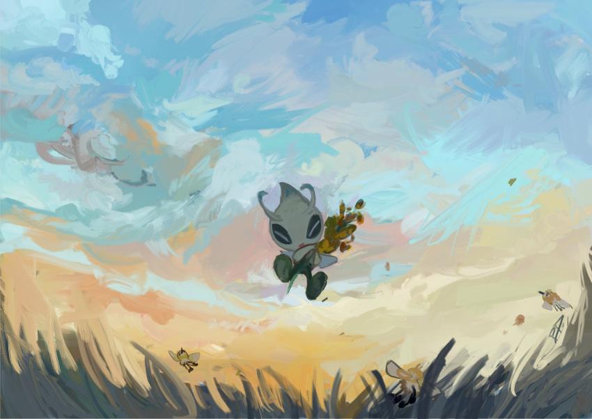 aomidori_iro celebi closed_eyes clouds cutiefly day flying from_below gen_2_pokemon gen_7_pokemon grass highres holding mythical_pokemon no_humans outdoors pokemon pokemon_(creature) sky smile