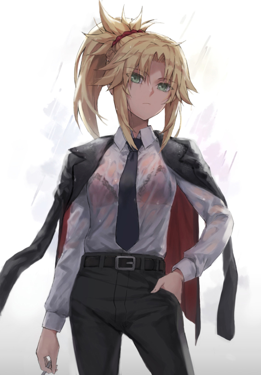1girl bangs belt black_jacket black_pants blonde_hair bra braid breasts collared_shirt dress_shirt ear_piercing eyebrows_visible_through_hair fate/apocrypha fate_(series) french_braid green_eyes hair_ornament hair_scrunchie highres jacket jacket_on_shoulders long_hair long_sleeves looking_at_viewer mordred_(fate) mordred_(fate)_(all) necktie pants parted_bangs piercing ponytail red_bra scrunchie shirt sidelocks small_breasts tonee underwear wet wet_clothes white_shirt