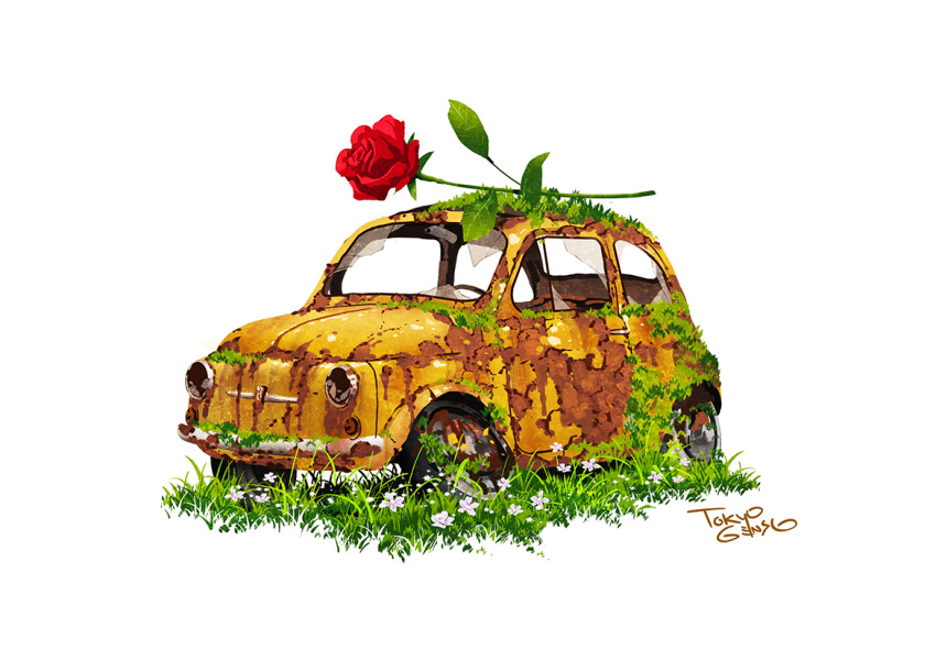 abandoned broken_window car commentary_request flower grass ground_vehicle motor_vehicle no_humans original oversized_flowers red_flower red_rose rose rust signature simple_background tire tokyogenso white_background white_flower