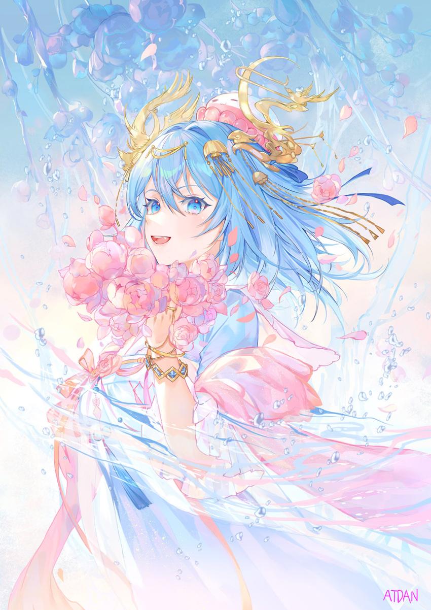 1girl atdan blue_eyes haiyi highres open_mouth original smile synthesizer_v