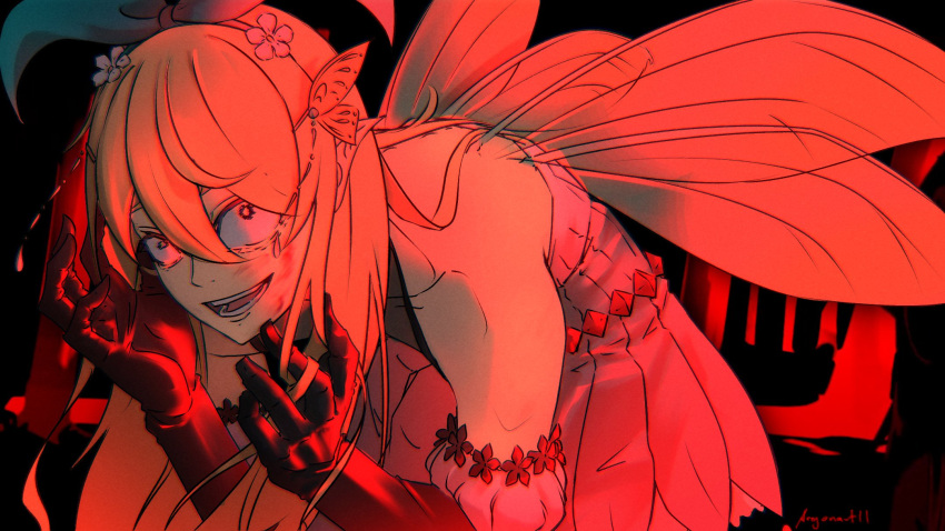 1girl artist_name bangs bare_shoulders black_background blonde_hair bow butterfly_hair_ornament commentary crazy fairy fairy_wings flower gloves hair_bow hair_flower hair_ornament hairband highres horror_(theme) hunched_over long_hair looking_at_viewer nijisanji nijisanji_en open_mouth pace_argonaut_(artist) pointy_ears pomu_rainpuff red_theme skirt smile solo virtual_youtuber wings