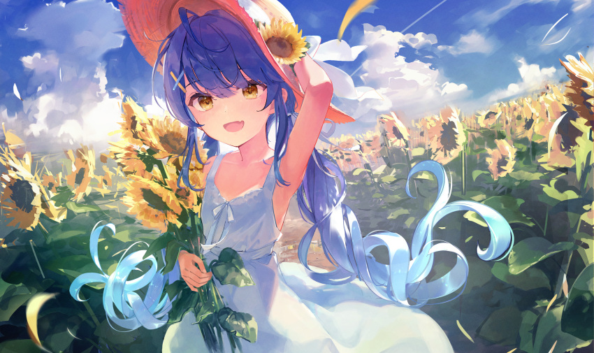 1girl :d amamiya_kokoro arm_up bangs blue_hair blue_sky blush brown_eyes clouds commentary day dress dutch_angle eyebrows_visible_through_hair fang field flower flower_field hair_between_eyes hand_on_headwear hat hat_flower highres holding holding_flower long_hair looking_at_viewer nijisanji open_mouth outdoors skin_fang sky sleeveless sleeveless_dress smile solo sun_hat sundress sunflower t6_ti twintails very_long_hair virtual_youtuber white_dress yellow_headwear