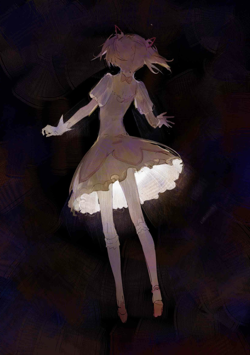 1girl arms_at_sides back_cutout bobby_socks bubble_skirt choker clothing_cutout dark_background darkness facing_away frilled_legwear frilled_skirt frills from_behind full_body gloves glowing hair_ribbon heart_cutout highres impressionism kaname_madoka legs_apart light mahou_shoujo_madoka_magica minimalism multicolored multicolored_background muted_color narrow_waist pink_hair pink_ribbon puffy_short_sleeves puffy_sleeves red_footwear red_ribbon ribbon ribbon_choker shoes short_sleeves short_twintails simple_background skirt socks solo toduring twintails white_gloves white_legwear white_skirt