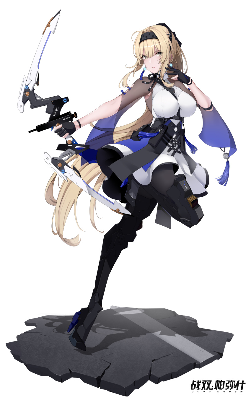 1girl absurdres bianca_(punishing_grey_raven) black_gloves black_legwear blonde_hair bow_(weapon) breasts corset dress earrings fighting_stance fingerless_gloves full_body gloves headband highres holding holding_bow_(weapon) holding_weapon jewelry large_breasts long_hair mecha_musume ponytail punishing:_gray_raven see-through simple_background solo very_long_hair watermark weapon white_background wsfw