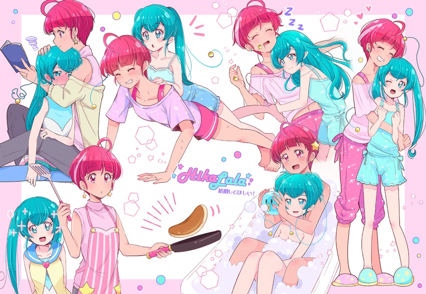 2girls :d :o ;d ^_^ ^o^ ahoge antennae apron aqua_eyes aqua_hair bangs barefoot bath bathing bathtub blouse blunt_bangs blush book border bra_strap character_name clenched_teeth closed_eyes collarbone cooking couple double_bun drooling earrings embarrassed exercise eyebrows_visible_through_hair flipping_food food frying_pan full-face_blush grin hagoromo_lala hair_down hair_ornament hair_up heart height_difference holding holding_book holding_frying_pan hoshina_hikaru hug jewelry juugoya_neko lying_on_person midriff_peek multicolored_hair multiple_girls multiple_views navel off_shoulder older one_eye_closed open_book open_mouth pajamas pancake pants pantyhose pink_border pink_eyes pink_hair pointy_ears precure push-ups reading ring sailor_collar shared_bathing shirt sitting sleeping sleeveless sleeveless_shirt slippers smile soap_bubbles sparkle spoken_heart spoken_zzz star_(symbol) star_earrings star_hair_ornament star_in_eye star_twinkle_precure streaked_hair sweat sweatdrop symbol_in_eye teeth training translated turtleneck twintails wavy_mouth wedding_band wedding_ring wife_and_wife yuri zzz