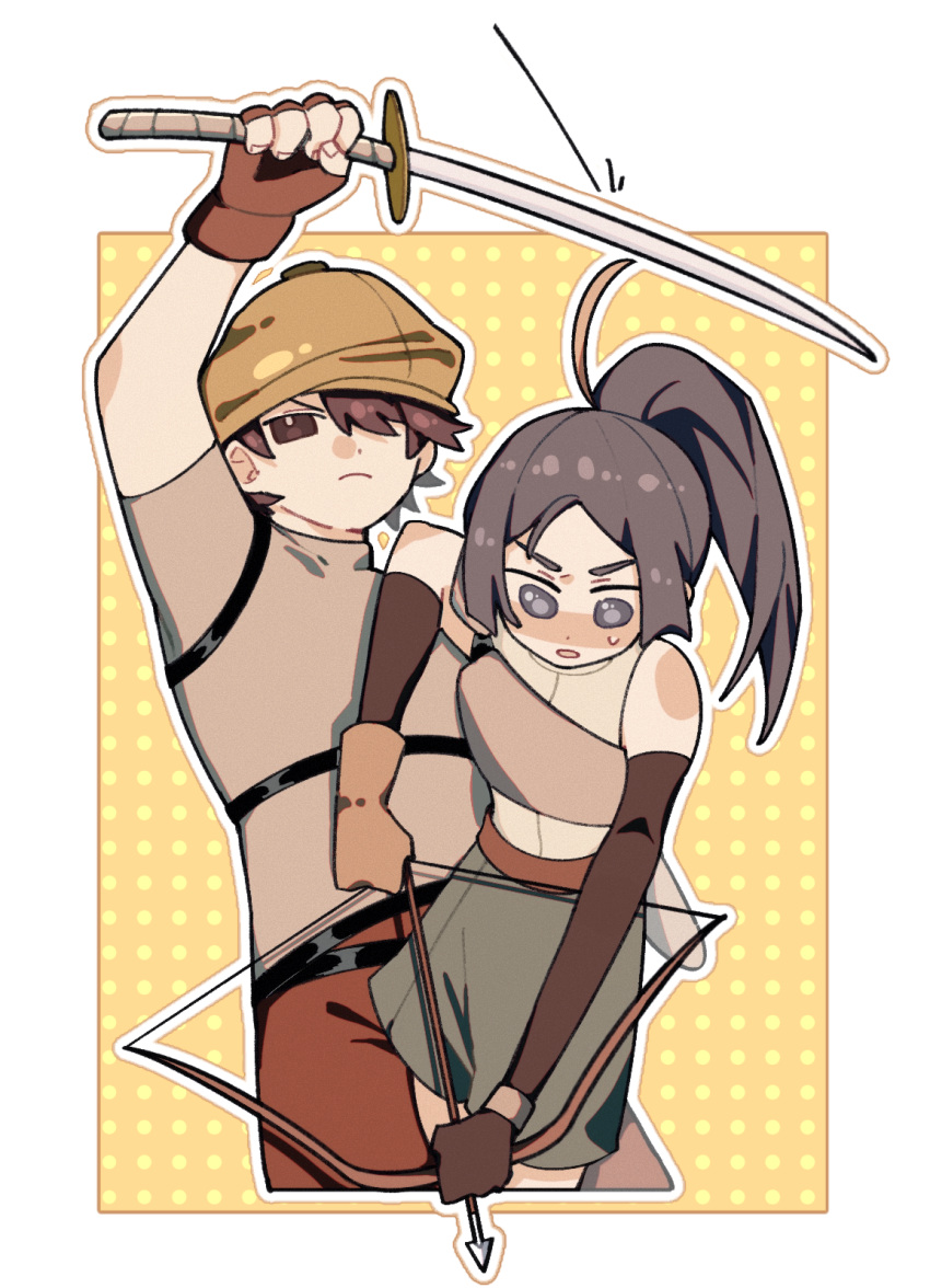 1boy 1girl a'xian_(the_legend_of_luoxiaohei) arrow_(projectile) bbbone923 bow_(weapon) brown_eyes brown_gloves brown_hair brown_headwear brown_pants cowboy_shot fingerless_gloves geshao_(the_legend_of_luoxiaohei) gloves grey_eyes hat highres holding holding_bow_(weapon) holding_sword holding_weapon long_hair pants ponytail short_hair short_sleeves sword the_legend_of_luo_xiaohei weapon