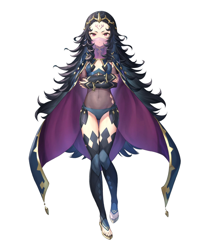 1girl black_hair bodystocking bracelet breasts cape facial_mark fingernails fire_emblem fire_emblem_fates fire_emblem_heroes forehead_mark highres jewelry kousei_horiguchi long_hair mouth_veil nail_polish nyx_(fire_emblem) official_art red_eyes see-through simple_background small_breasts solo thigh-highs tiara toeless_footwear transparent_background veil