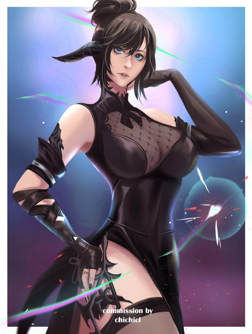 1girl au_ra bangs black_dress black_hair black_horns black_legwear blue_eyes blurry blurry_background breasts chichicl cleavage_cutout clothing_cutout commission detached_sleeves dragon_horns dragon_tail dress final_fantasy final_fantasy_xiv hand_on_hip highres horns large_breasts looking_at_viewer nail_polish scales see-through short_hair side_slit solo swept_bangs tail thigh-highs